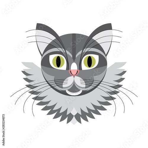 Poster Croquis dessinés à la main des animaux Face gray cat