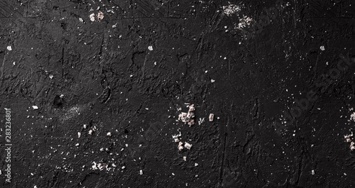 Black stone background with coals and ashes, grey cement texture. Top view, flat lay - 283236801