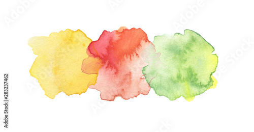 Abstract watercolor and acrylic blot painting. Green and Yellow Color design element. Texture paper. Isolated on white background.