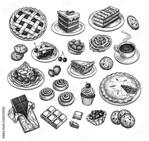 Fototapeta Ink sketch of desserts. obraz