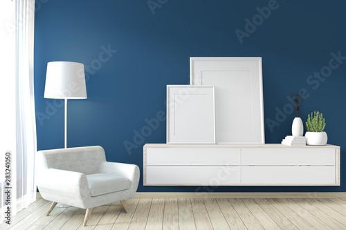 Fototapety, obrazy: Frame on Cabinet zen style on modern dark blue room and decoration.3D rendering