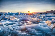 Beautifull Landscape With Floating Icebergs In Jokulsarlon Glacier Lagoon At Sunset