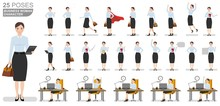 Business Woman Character Set. Flat Illustrations Of Business Woman Character In Various Poses.