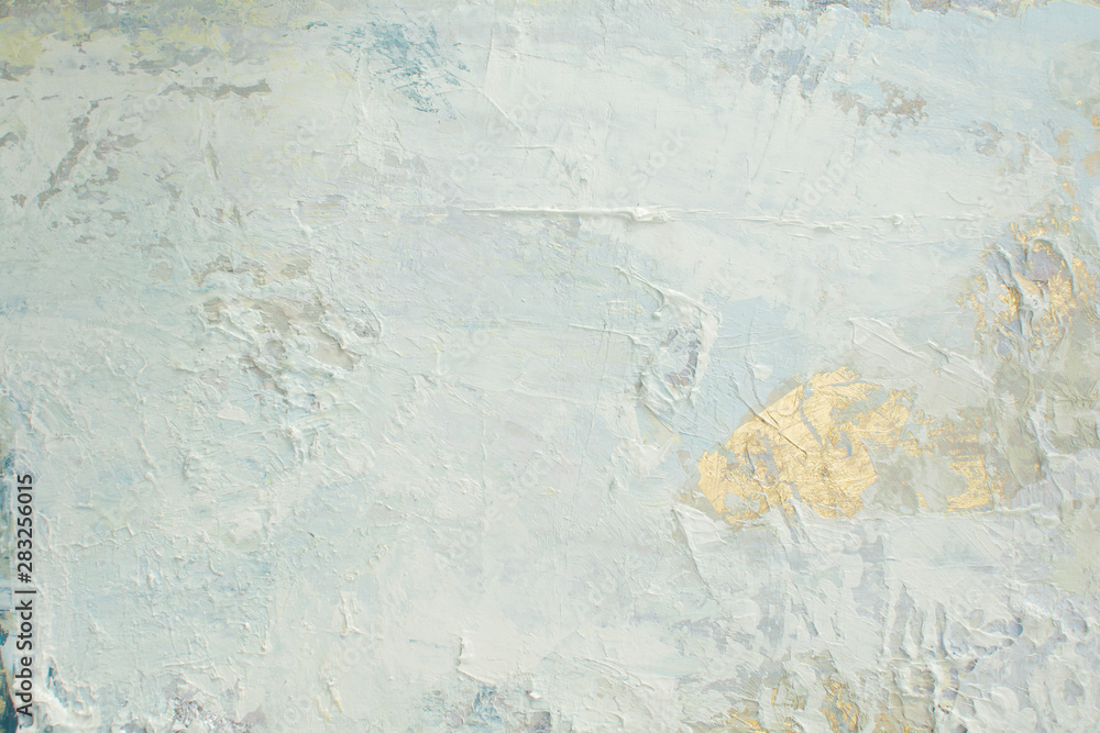 Fototapeta White snow texture with pasty painting elements. Light Christmas background with silver foil elements, gold foil slices on panoramic canvas. Horizontal pale cold backgrounds. Winter wedding design.