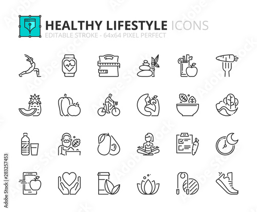 Cuadros en Lienzo  Outline icons about healthy lifestyle