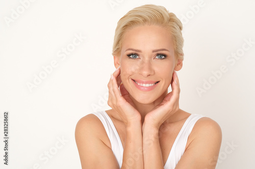 Beautiful, fresh and clean skin after facial treatment.