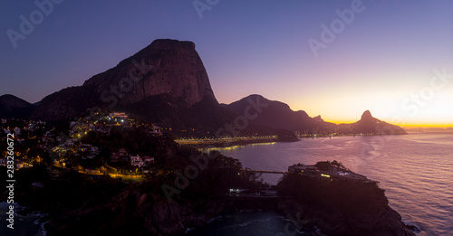 Aerial view of Joatinga beach with the Gavea, Vidigal and Corcovado mountains in Fototapet