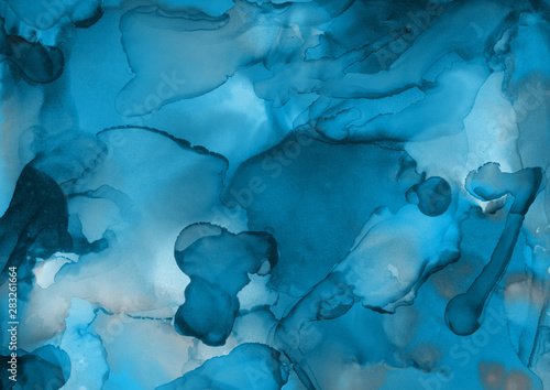 Fototapety, obrazy: Hand painted blue alcohol ink background. Abstract delicate winter season texture. Contemporary wallpaper.