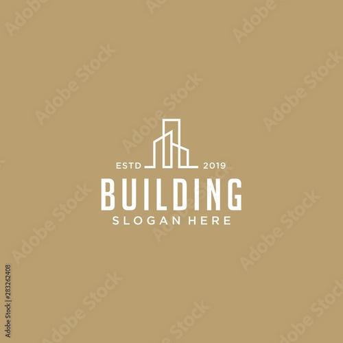 Szablon logo budynku. Czysty, nowoczesny i elegancki styl