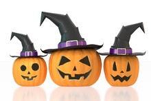 Halloween Pumpkins Wearing Hats - Isolated On White Background