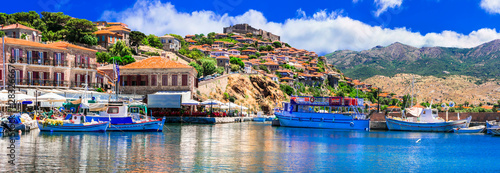 Traditional islands of Greece - beautiful Lesvos. popular Molyvos Molivos) coastal town
