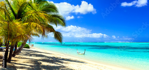 perfect tropical beach scenery. Mauritius island holidays
