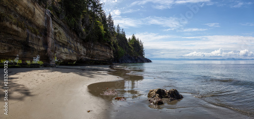 Beautiful Panoramic View of Mystic Beach on the Pacific Ocean Coast during a sunny summer day Wallpaper Mural