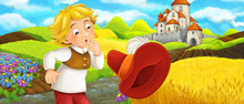 Cartoon Scene - Young Farmer Traveling To The Castle On The Hill Seeing Flying Cap - Illustration For Children