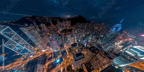 Panorama aerial view of Hong Kong Financial District