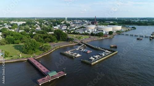 Photo  Aerial View Small Marina on the Delaware River near Philadelphia