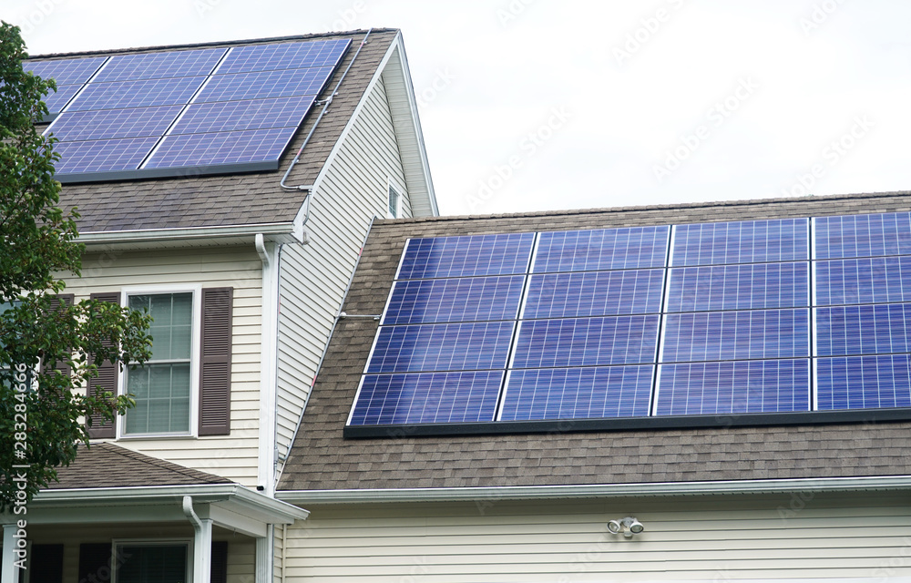 Fototapety, obrazy:   solar panel installed on the house roof