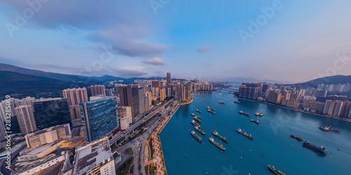 Panorama aerial view of Hong Kong landscape in  Tsuen Wan District Wallpaper Mural