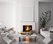 Leinwanddruck Bild - Mock up poster in modern home interior with fireplace, Scandinavian style, 3d render