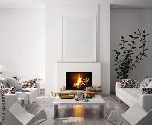 Mock up poster in modern home interior with fireplace, Scandinavian style, 3d re Wallpaper Mural