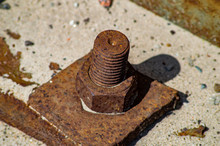 Large Rusty Bolt And Nut With ...