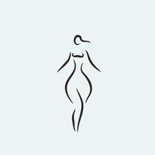 Curvy Woman Body Shape Icon Vector