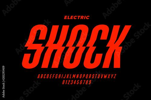 Fényképezés  Eclectric shock style font design, alphabet letters and numbers