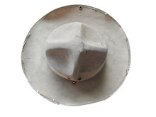 Old Brown Scout Hat, Placed Peeling Off Because It Has Been Used For A Long Time On The White Blackground