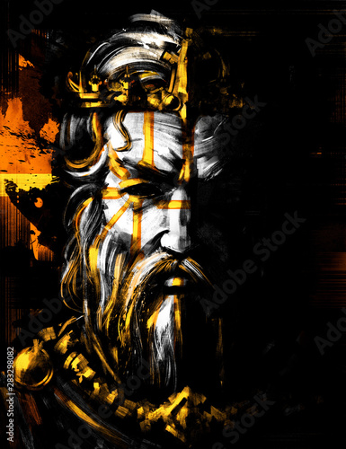 A sinister portrait of a king with black eyes and a Golden crown Wallpaper Mural