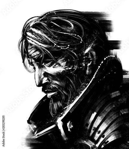Tablou Canvas Severe knight with black eyes and a bandage on his forehead