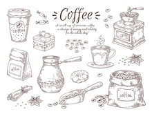 Hand Drawn Coffee. Vintage Ita...
