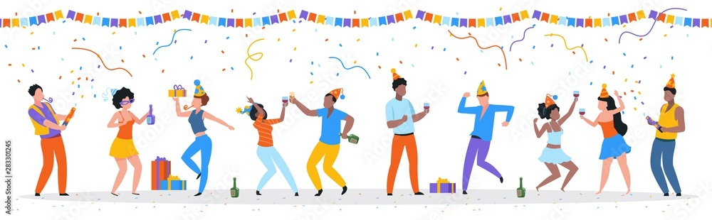 Fototapeta Cartoon party people. Trendy happy dancing group of men and women with party hats, confetti and drinks. Vector illustration birthday young fun man and his friends