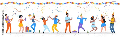 Fototapeta Cartoon party people. Trendy happy dancing group of men and women with party hats, confetti and drinks. Vector illustration birthday young fun man and his friends obraz