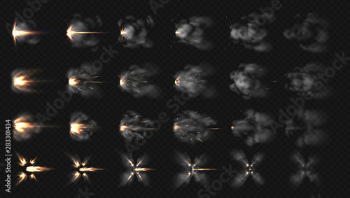 Obraz Gun flash effects. Realistic special effects steps of smoke clouds and shotgun fire, muzzle flash and explode. Vector illustration isolated set concept firing on transparent background - fototapety do salonu