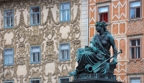 Photo Detail of Erzherzog Johann fountain at Hauptplatz (main square), in Graz, Styria region, Austria