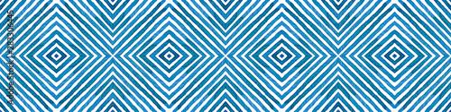 Türaufkleber Künstlich Blue Seamless Border Scroll. Geometric Watercolor