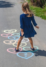 Children's Hopscotch Game On The Pavement. Selective Focus.