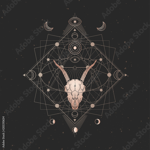 Vector illustration with hand drawn Goat skull and Sacred geometric symbol on black vintage background. Abstract mystic sign.