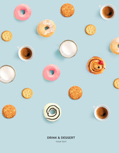 Creative Layout Made Of Donuts, Cookies, Milk And Coffee On Blue Background. Flat Lay. Food Concept. Macro  Concept.