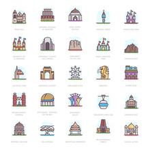 Mausoleum Landmarks Flat Icons