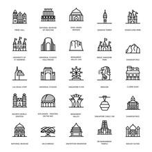Mausoleum Landmarks Line Icons