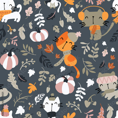 Seamless pattern of cats wearing scarf, playing on pumpkin patch.Cute illustration for children's print.