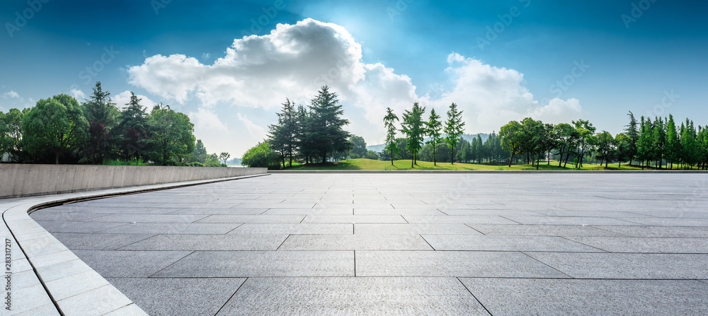 Fototapety, obrazy: Empty square floor and green woods natural scenery in city park