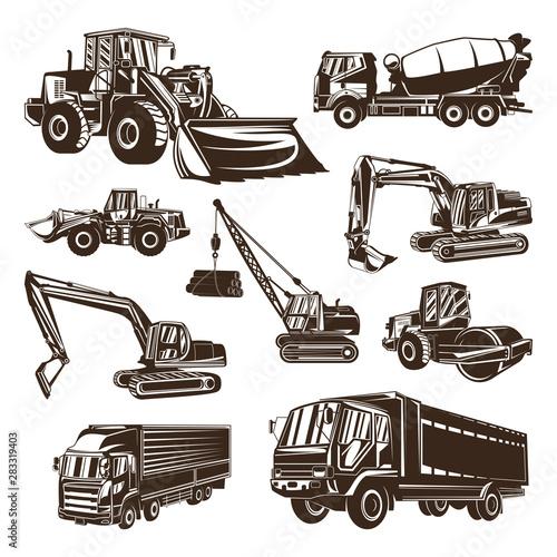 Photo Heavy equipment Logo design Vector