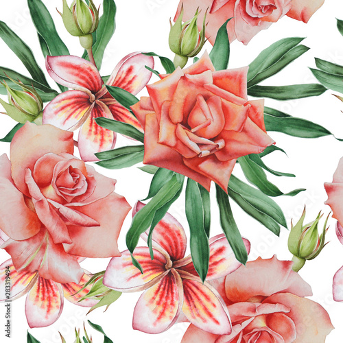 Bright seamless pattern with flowers. Watercolor illustration.