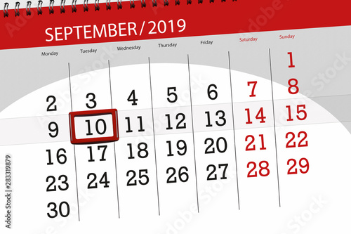 Obraz Calendar planner for the month september 2019, deadline day, 10, tuesday - fototapety do salonu