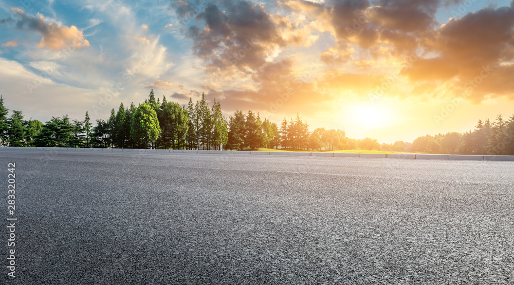 Fototapety, obrazy: Country asphalt road and green woods nature landscape at sunset