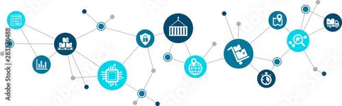 Fototapeta Modern supply chain management icon concept: digitalization & automation in logistics – vector illustration obraz na płótnie