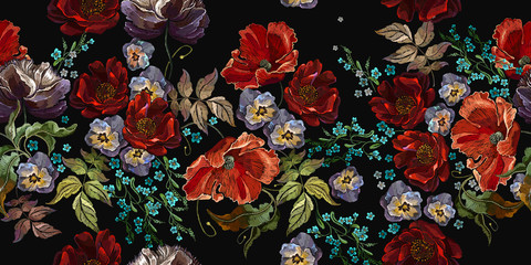 Embroidery. Red poppies and violet flowers, summer bouquet.  Floral seamless pattern. Summer botanical fashion illustration. Template for clothes