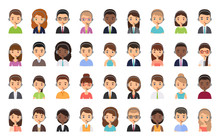 Call Center Customer Operator Avatar. Vector. Service Agent Representative Icon In Headset. Flat Design. Support Manager In Headphone. Cartoon Illustration. Face Isolated On White. Online Contact Help